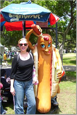 Gail and Giant Hot Dog