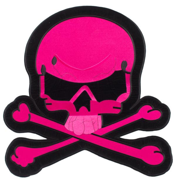 pink skull rug