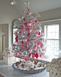 Aluminum Christmas Tree with Pink Ornaments