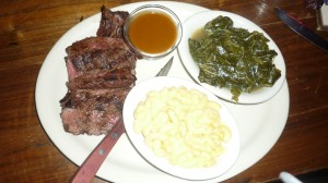 Grilled Skirt Steak, Macaroni & Cheese, Collard Greens