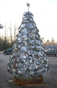 Christmas Tree Made from Hubcaps