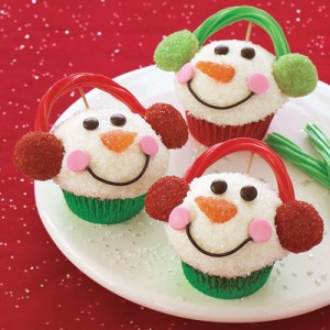Holiday Cupcakes Decorated As Snowmen Faces