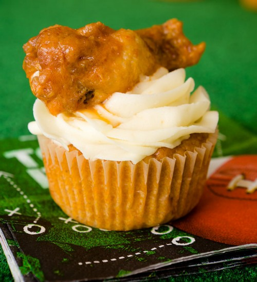 Buffalo Chicken Wing On Top of a Cupcake