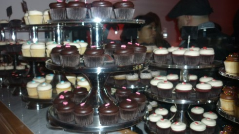 Display Case of Chocolate and Vanilla Cupcakes