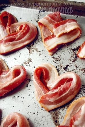 Bacon folded into the Shape of a Heart