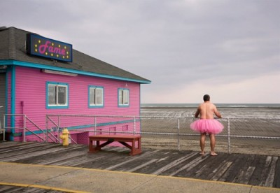 Man on a Pier in Pink Tutu