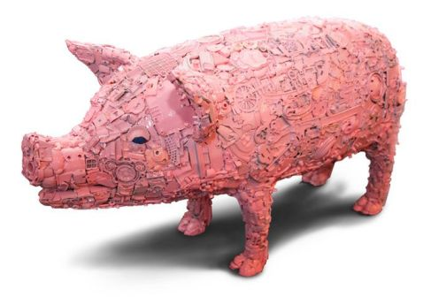 Pink Junk Pig Sculpture Cochinillo By Julien Garcia