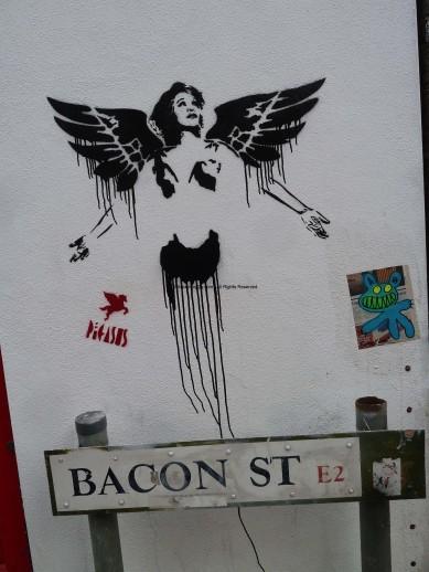 UK Street Sign Bacon Street Plus Random Street Art