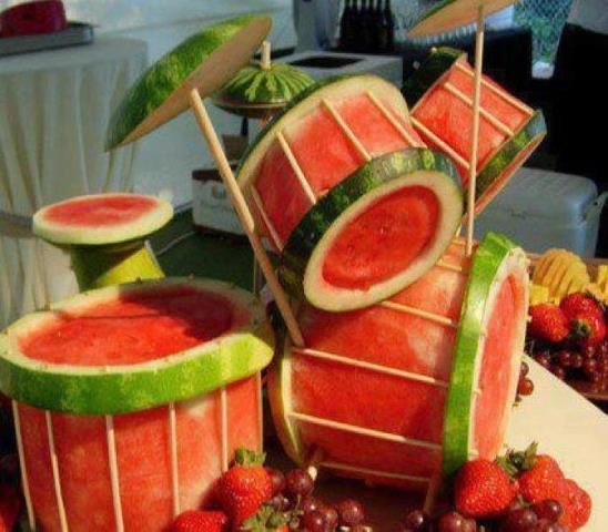 Carved watermelon drum kit the worley gig