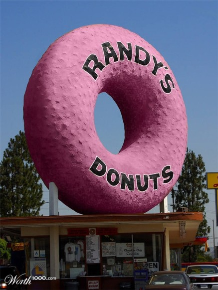 Pink Randy's Donuts Sign