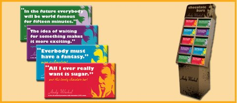 Andy Warhol Chocolate Bars Packaging Display