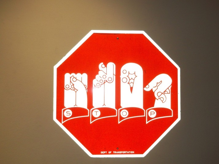 Sign Language Stop Sign By Martin Wong (estate)