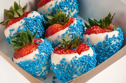 Patriotic White Chocolate Covered Strawberries