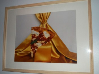 Pizza on Gold Satin
