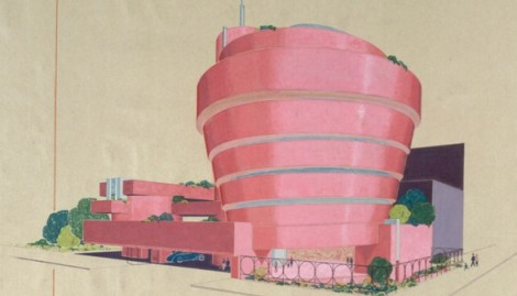Pink Guggenheim Museum Drawing