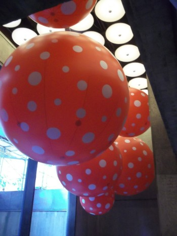 Kusama Red Polka Dot Beach Balls Installation at Whitney Museum