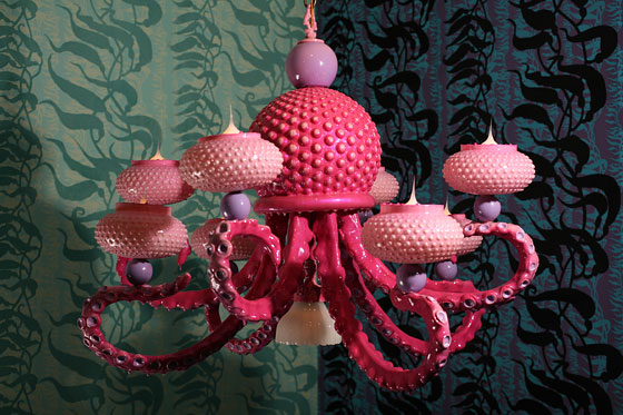 Adam Wallacavage Pink Octopus Chandelier