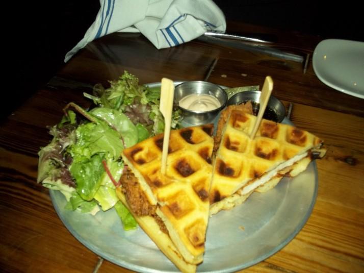 Bait and Hook Chicken Waffle Sandwich