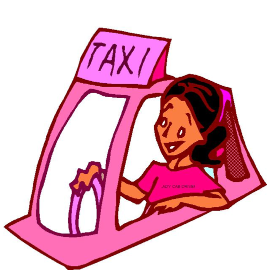 Pink Taxi with Driver Cartoon
