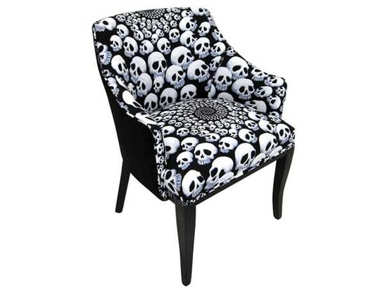 Upholstered Skull Arm Chair