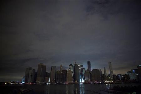 Unlit Downtown Manhattan