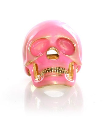 Pink Skull with Gold Teeth