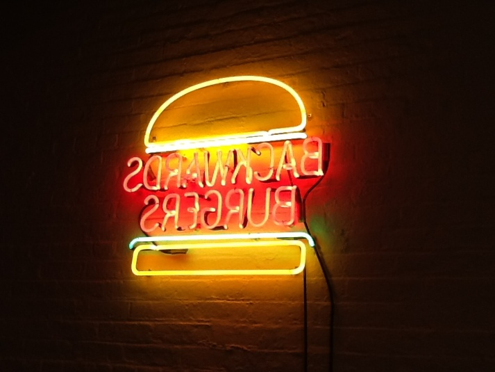Backward Burger Neon Sign By David Shrigley