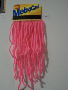 Metrocard Art With Pink Yarn Fringe