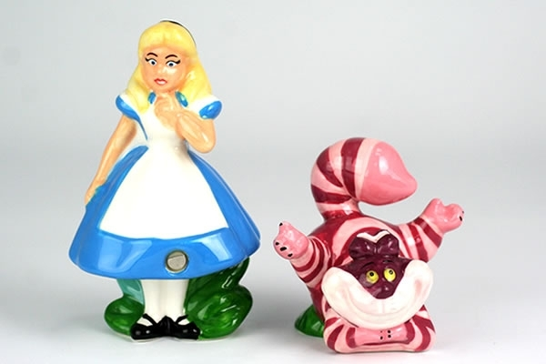Alice and Cheshire Cat Salt Pepper Shakers