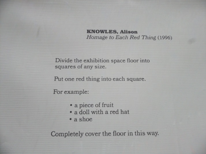 Alison Knowles Each Red Thing Instructions