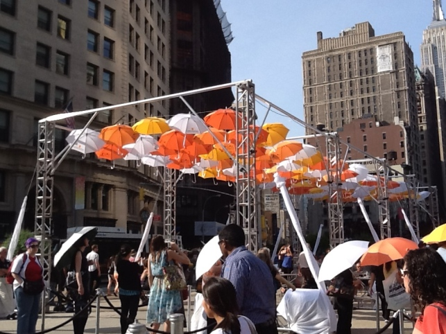BMF Media Umbrellas Installation From a Distance