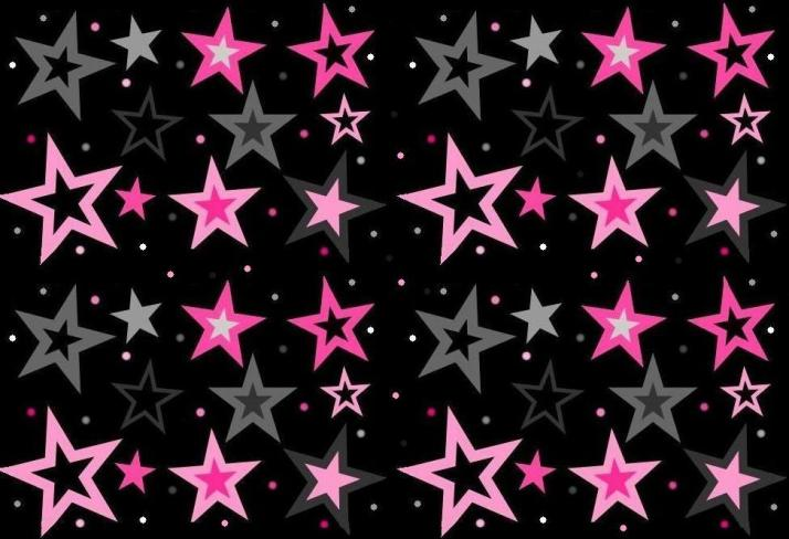 Pink and Gray Stars on Black