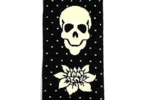 Skull and Flower Knee Socks Detail