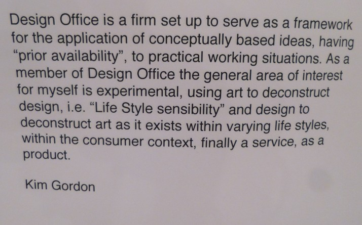 Design Office Statement By Kim Gordon