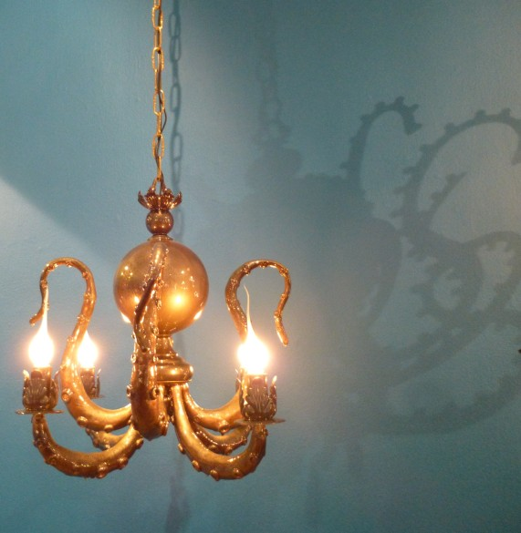 Golden Tentacle Chandelier