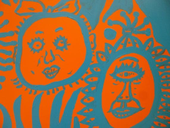 Yayoi Kusama Painting Blue and Orange Detail