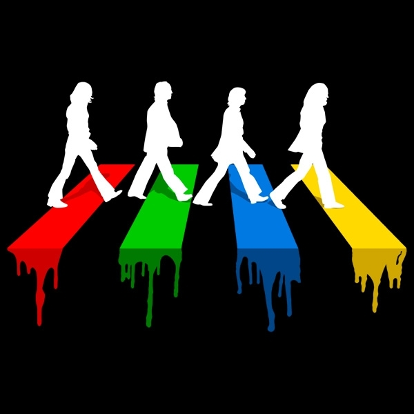 Abbey road in colors t shirt the worley gig for Beatles tattoo abbey road