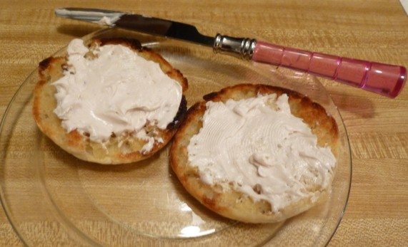 Daiya Spread on Toasted English Muffin