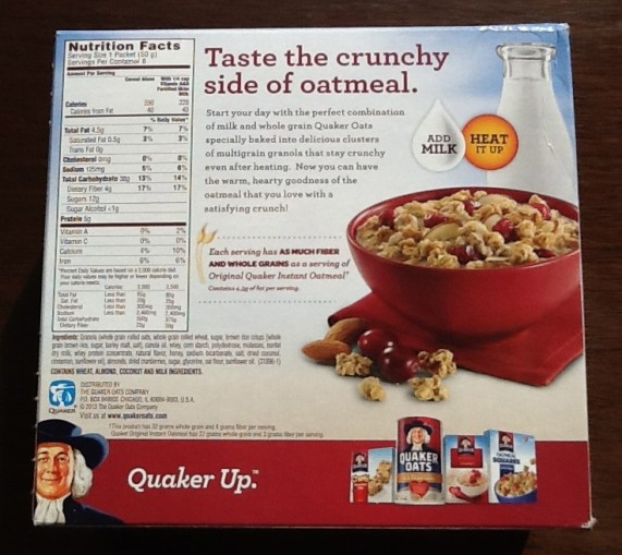 Quaker Oats Back of Box
