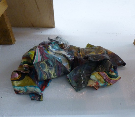 Crumpled Pour Painting on the Floor