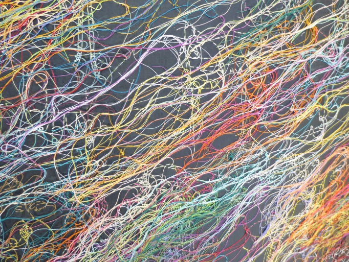 Ghada Amer Embroidered Painting Detail