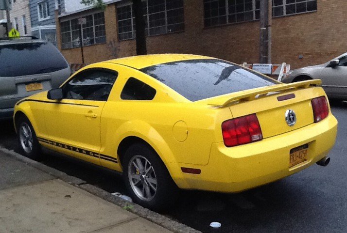 Yellow Mustang Rear View