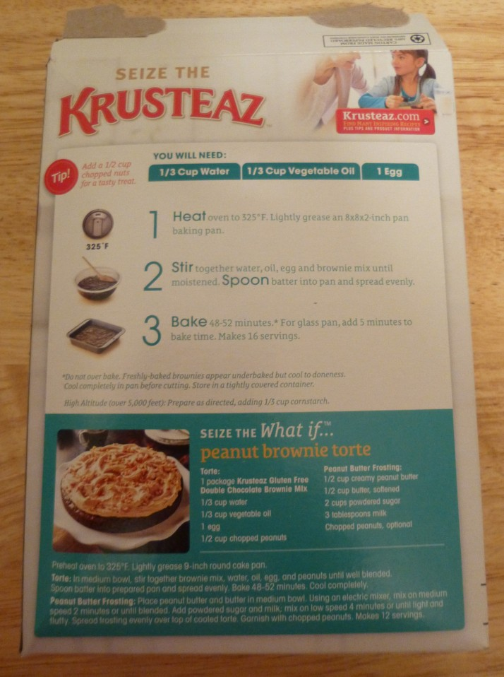 Krusteaz Back of Box