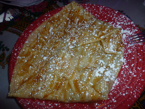Apple Crepe with Caramel Sauce