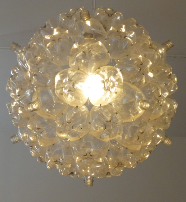 Recycled Plastic Bottle Pendent Lamp Close Up