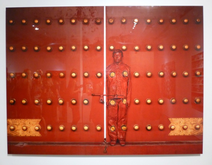 Red Background with Gold Rivets