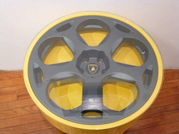 Lambo Gallardo Yellow Wheel Table