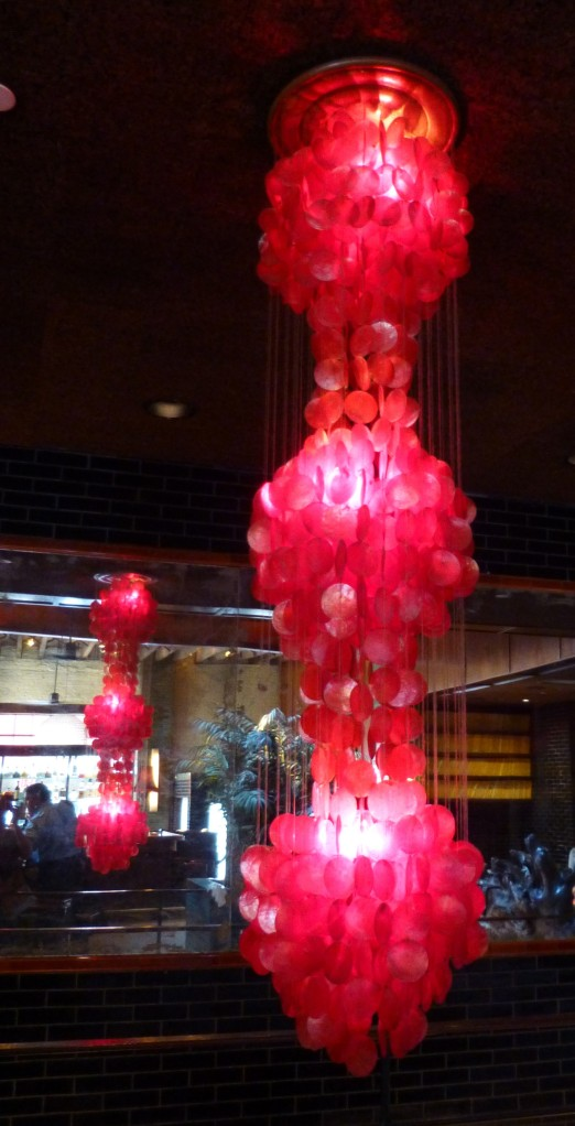 Red Chandelier with Reflection