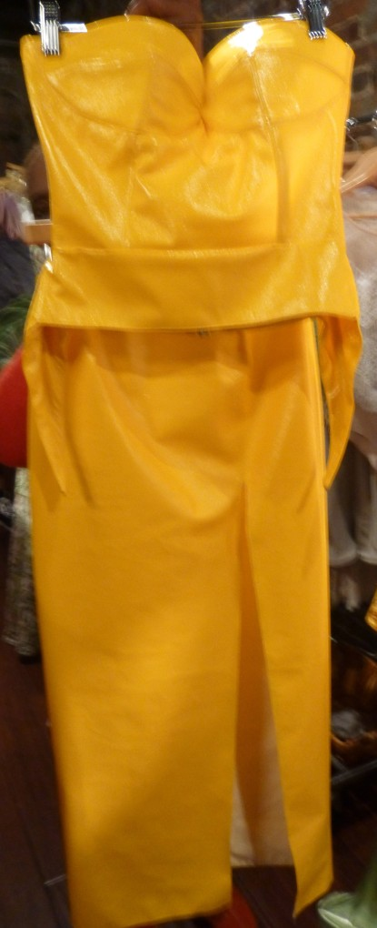Bright Yellow Leather Bustier and Narrow Skirt By Durdoux