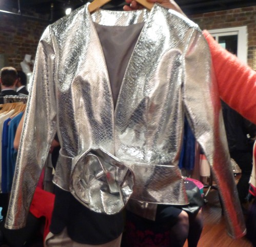 Silver Leather Short Jacket By Durdoux